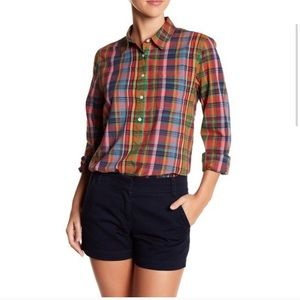 NWT J.Crew Factory Plaid Purple/Green Boyfit Top